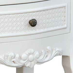 tfc9802-aw-det1 Antique White Floral Bedside Cabinet