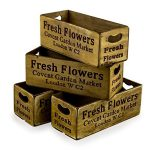 FC24 Sturdy Antiqued Brown Covent Garden Storage Container Wooden Boxes Set of 4
