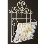 YF1063_3 Ornate Decorative Scroll Cream Metal Magazine Rack Holder