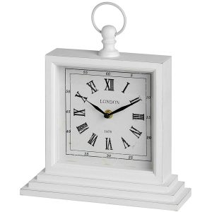1148 Antique White Square London Table Clock With Handle