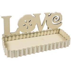 QEL024 LOVE Flower Cream Metal Wall Shelf