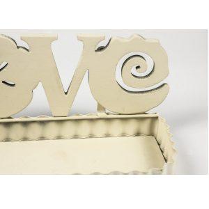 QEL024_2_LOVE Flower Cream Metal Wall Shelf