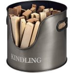 17529 Antique Pewter Grey Kindling Container