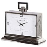 KNG132 Art Deco Style Silver Rectangle Clock