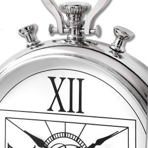 18240-a Large Pocket Watch Style Silver Clock