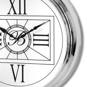 18240-b Large Pocket Watch Style Silver Clock