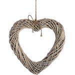 18733 Love Heart Wicker Wood Wall Decoration