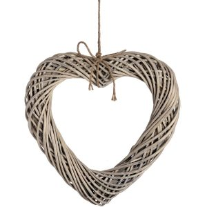18733 Love Heart Wicker Wood Wall Decoration