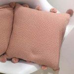 33476 Pom Pom Dusky Pink Knitted Cushion