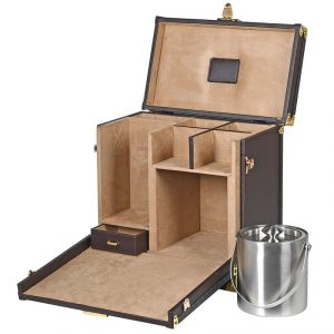 zjh009_3_Antique Brown Drinks Case with Ice Bucket