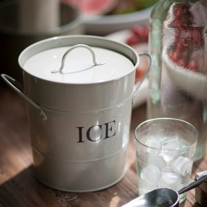 IBCH01_1 Retro Style White Metal Ice Bucket