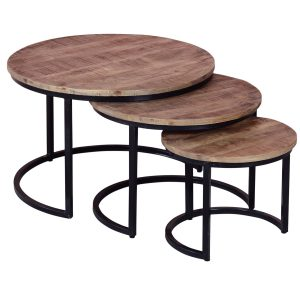 19989 Set of 3 Industrial Style Round Tables