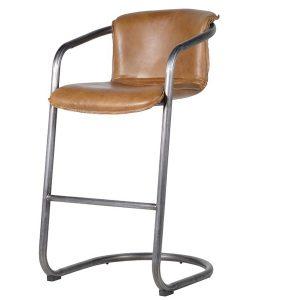 JXF007 Retro Style Brown Leather Bar Chair