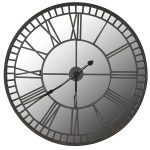 STN1099 Extra Large Mirrored Grey Wall Clock