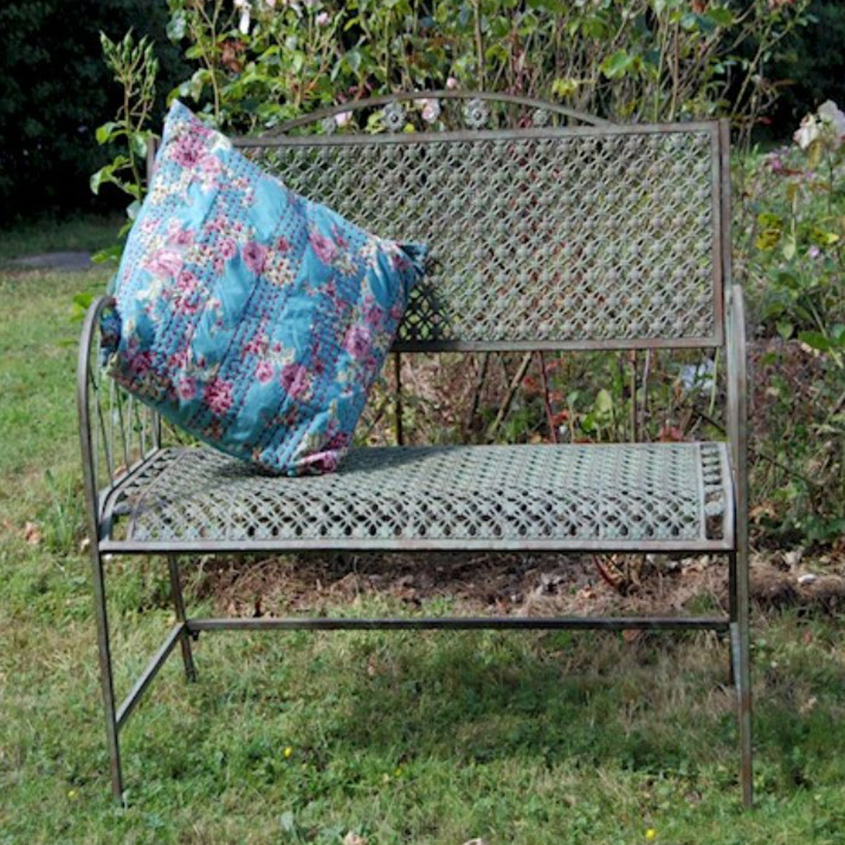 Picture of: Floral Lattice Blue Grey Garden Bench Fizzy Fox Ripley