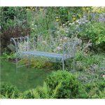 4138 Antique Blue Metal Garden Bench 3