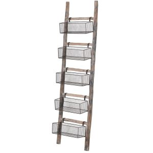 Rustic Storage Baskets Oak Ladder
