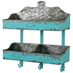 3761 Blue Grey Wall Rack with Hooks