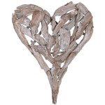 Brown Grey Driftwood Heart Decoration