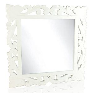 White Lattice Rectangle Wall Mirror