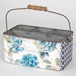4605 Blue White Floral Container Trug