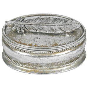 5761 Vintage Style Feather Silver Storage Box