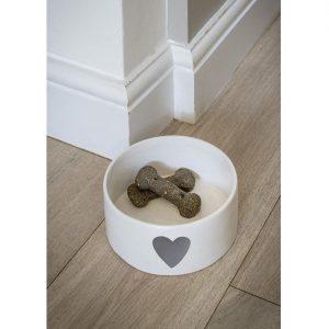 18SS06 Grey White Heart Pet Bowl