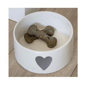 18SS06 a Grey White Heart Pet Bowl