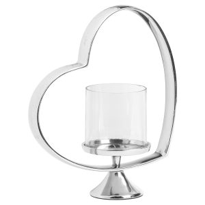 21399 Large Heart Silver Candle Holder