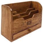 N0505 Brown Letter Rack with Drawer