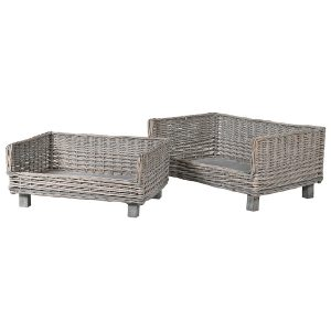 LG066 Set of 2 Grey Willow Dog Beds