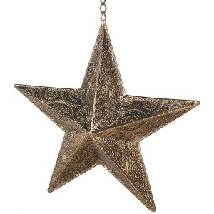 MFA114_2_ Antique Gold Star Hanging Candle Holder