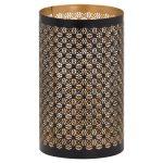 21100 Black Gold Cylinder Large Candle Lantern