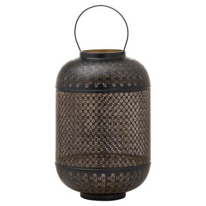 21110 Large Black Gold Domed Candle Lantern