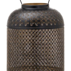 21110-a Large Black Gold Domed Candle Lantern