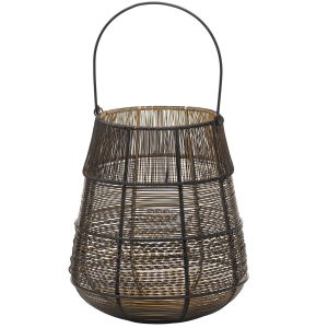 21114 Black Gold Wire Conical Candle Lantern