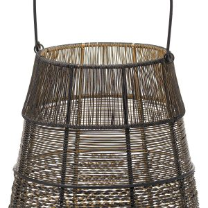 21114-a Black Gold Wire Conical Candle Lantern