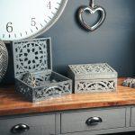 20608-c Ornate Grey Hand Carved Storage Box